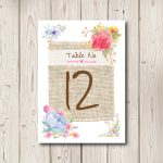 Rustic Floral Watercolour Table Numbers